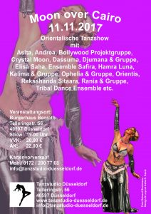 Flyer der Tanzshow Moon over Cairo 2017 in Düsseldorf