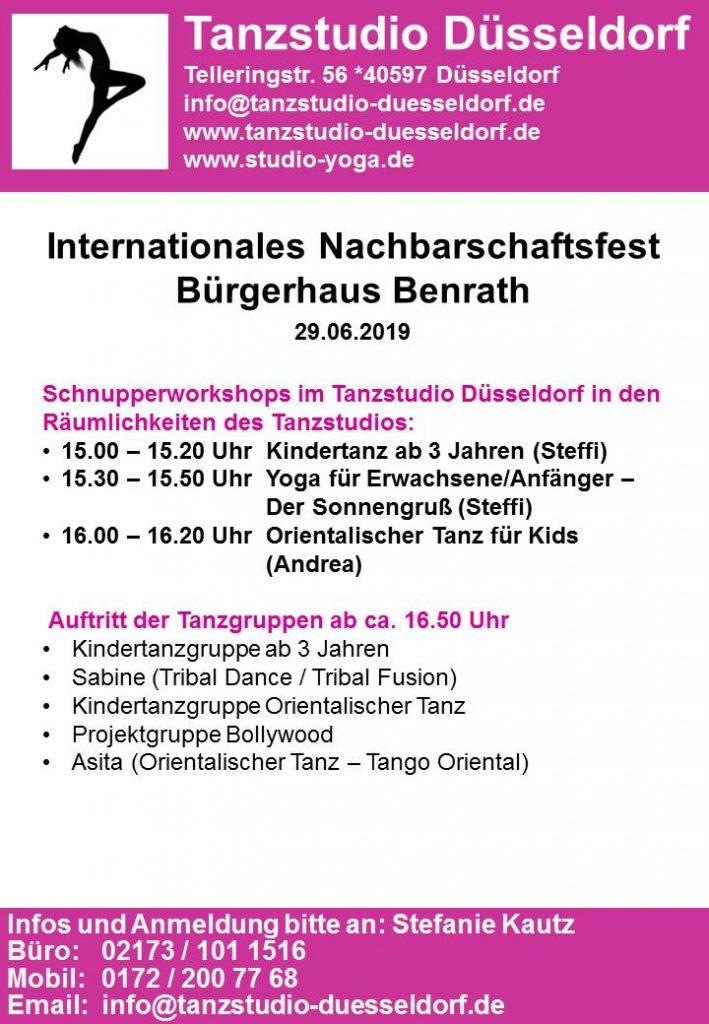 Tanzstudio Düsseldorf: Programm beim Nachbarschaftsfest am 29.06.2019