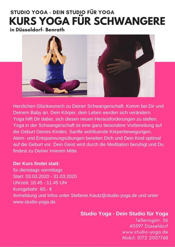 Flyer Kurs Yoga in der Schwangerschaft